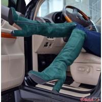Ботфорты демисезонные зимние замша на толстом каблуке AV0008