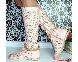 Сапоги женские высокие летние розовые KF0036