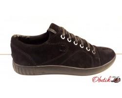 Слипоны-кеды мужские LEVEL на шнуровке кожа замша LL0022