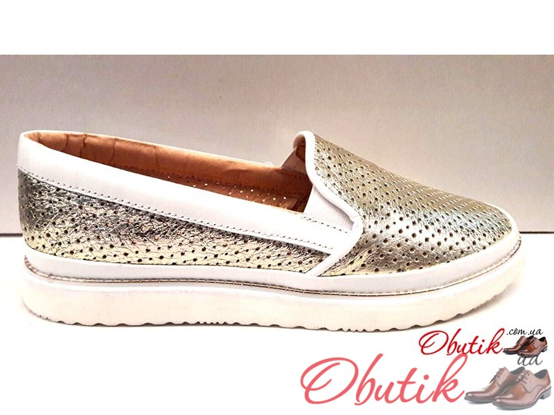 679880fd0 Obutik - Женские слипоны кожаные лето весна золотые Wright W0010 ...
