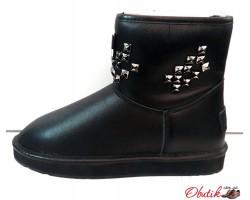 Угги женские Ugg Original мини кожаные черные Ug0030