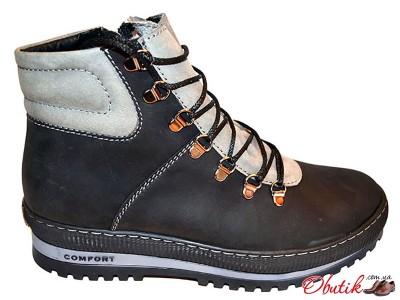 Ботинки мужские зимние Comfort нубук черные, серые Uk0160