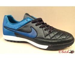 Кроссовки футбольные (бутсы, бампы, сороконожки) Nike черные с синим NI0131