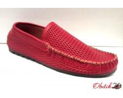 Мокасины летние мужские Broni кожаные красные, коричневые B0029