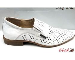 Мужские летние туфли Strado кожаные белые Str0001
