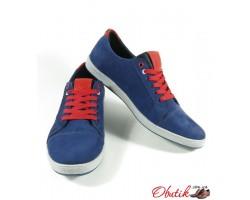 Мужские туфли-кеды Tommy Hilfiger натуральный нубук синие TH0001