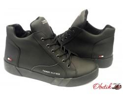 Ботинки мужскиеTommy Hilfiger зимние нубук черные TH0008-1