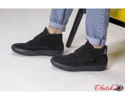 Ботинки мужские зимние замшевые черные Uk0463
