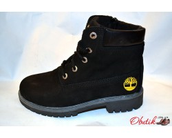 Ботинки зимние подростковые Timberland нубук черные T0008