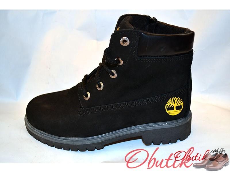 Obutik - Ботинки зимние подростковые Timberland нубук черные T0008 ... 80e8695c3b43f
