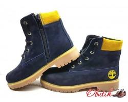 Ботинки зимние подростковые Timberland нубук синие T0020