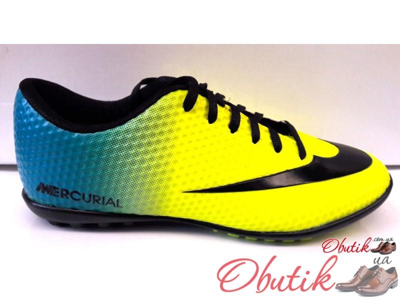 9ed58c56 Кроссовки футбольные для подростка Nike Mercurial желтые с голубым NI0090