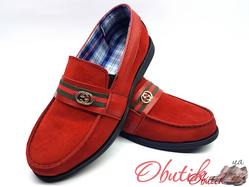 b7054664b198 Мокасины детские-подростковые Gucci замша натуральная красные Uk0164