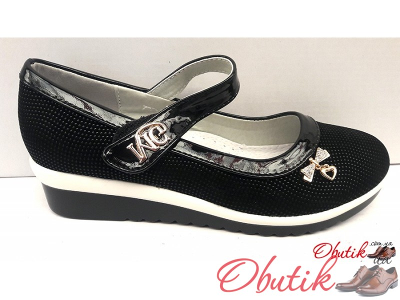f34f9002d Obutik - Туфли школьные для девочки на танкетке 32-37 размеры KF0372 ...