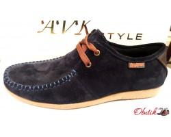 Туфли подростковые Braxton замша темно-синие Br0002