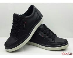 Туфли подростковые Ecco кожаные на замочке черные, синие E0022