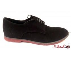 Мужские замшевые туфли чёрные классические Uk0422